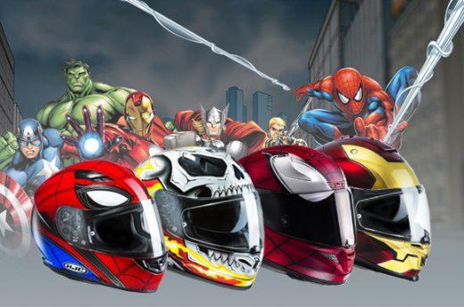 casques moto marvel